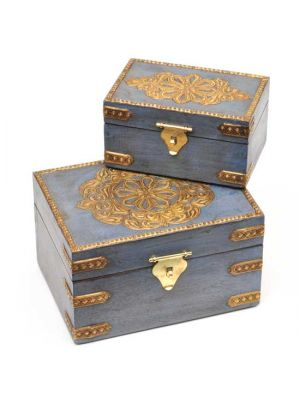 Blue Painted Wood Boxes with Metal Work Set/2