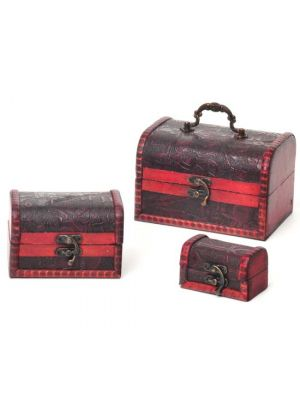 Antique Wood & Leather Chests Set/3