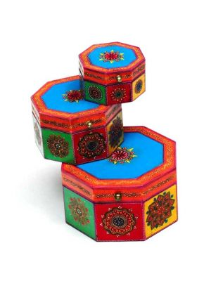 Hand Painted Wood Set/3 Nesting Boxes