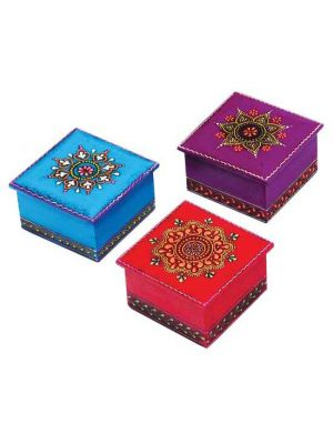 Hand Painted Wood Boxes Set/6 3
