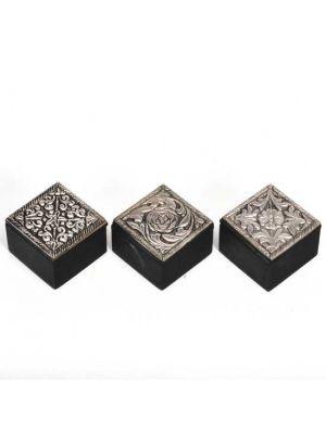 Metal Top Wood Boxes Set/12