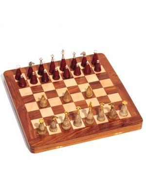 Wood Chess Set with Brass & Bone Pieces 16