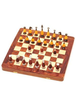 Wood Chess Set with Brass & Wood Pieces 16