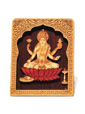 Laser Etched Wood Laxmi with Temple Stand 4