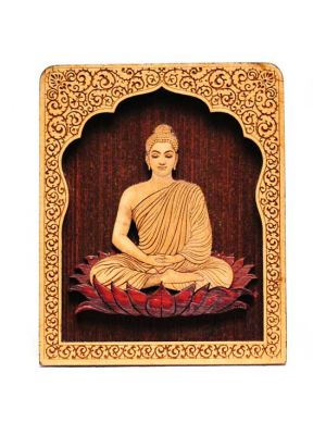 Laser Etched Wood Buddha with Temple Stand 4