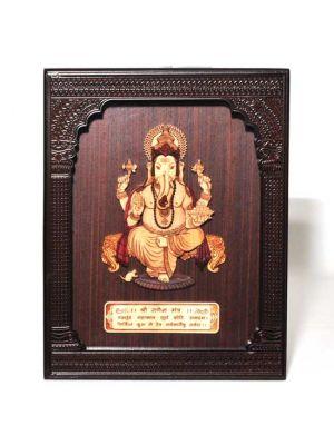 Laser Etched Wood Ganesha in a Frame 9