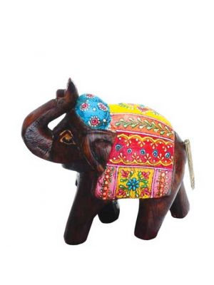 Hand Painted Wood Elephant 4.5