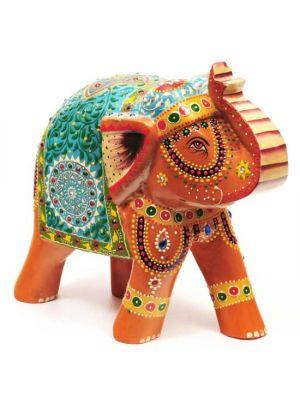 Hand Painted Wood Elephant 8