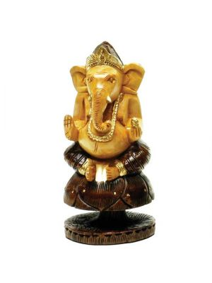Hand Painted & Carved Wood Ganesha 6