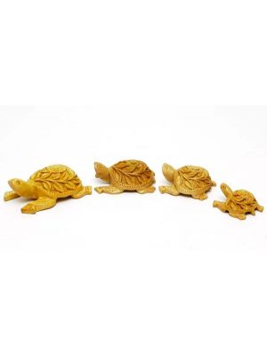 Carved Wooden Turtles Set/4